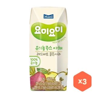 [슈퍼마트] 요미요미 유기농주스 골든사과 125ml*3입