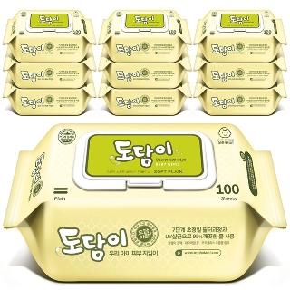 [티몬데이] 티몬균일가 도담이 플레인 물티슈 캡형 100매X10팩