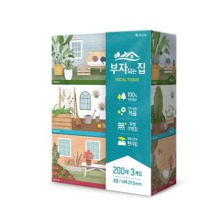 [슈퍼마트] 모나리자 부자되는집 미용티슈 3입 * 8팩 200매 / 250매