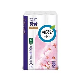 [슈퍼마트] 깨끗한나라 3겹데코 벚꽃 27m 30롤