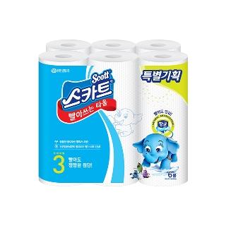 [티몬균일가] 스카트 항균 빨아쓰는 타올 45매*6롤