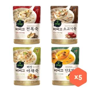 [슈퍼마트] 비비고 죽 450g 5종 X 5봉 전복죽/소고기죽/버섯야채죽/단호박죽