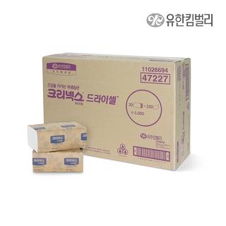 [티몬균일가] 크리넥스 드라이셀 핸드타올 천연펄프 F250 5000매