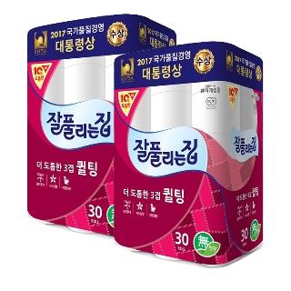 [무료배송] 잘풀리는집 도톰한 퀼팅 3겹 데코 30M 30롤 2팩