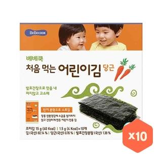 [슈퍼마트]베베쿡 처음 먹는 어린이 김 당근 1.5g*10입