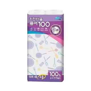 [슈퍼마트] 참그루 퓨어100 키친타올 150매*4+4롤